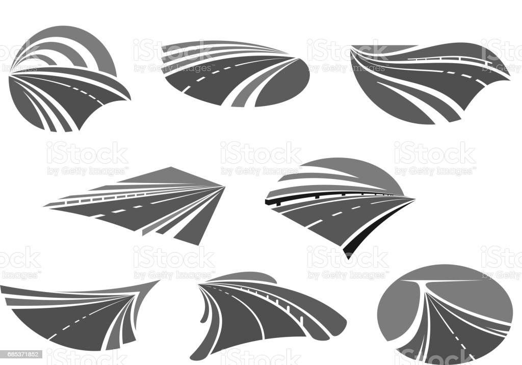 Road, highway, freeway and roadway icon set royalty-free road highway freeway and roadway icon set stock vector art & more images of asphalt