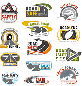 Road highway, traffic safety and transportation service icon set. Rural and mountain road, turn of speed highway, asphalt freeway, crossroad and tunnel isolated symbol for road themes design