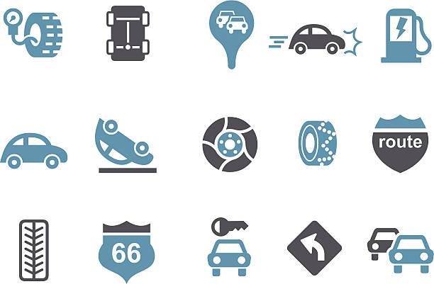 bildbanksillustrationer, clip art samt tecknat material och ikoner med road icon set - krockad bil