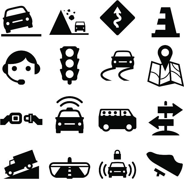 illustrations, cliparts, dessins animés et icônes de route série d'icônes-noir - covoiturage