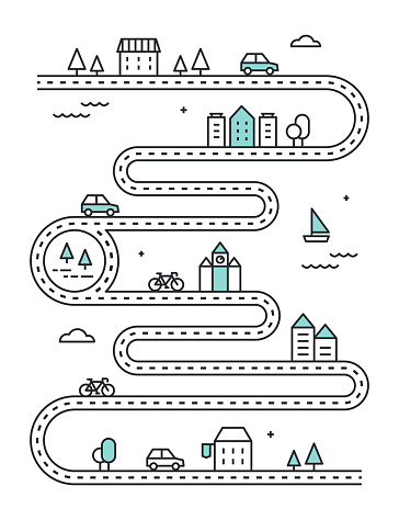Road Illudtrated Map with Town Buildings and Transport. Vector Infographic Design