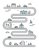 Road Illudtrated Map with Town Buildings and Transport. Vector Infographic Design.