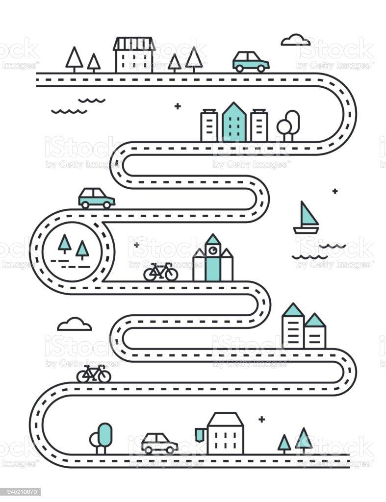 Illudtrated hoja de ruta con los edificios de la ciudad y transporte. Vector diseño de infografía - ilustración de arte vectorial