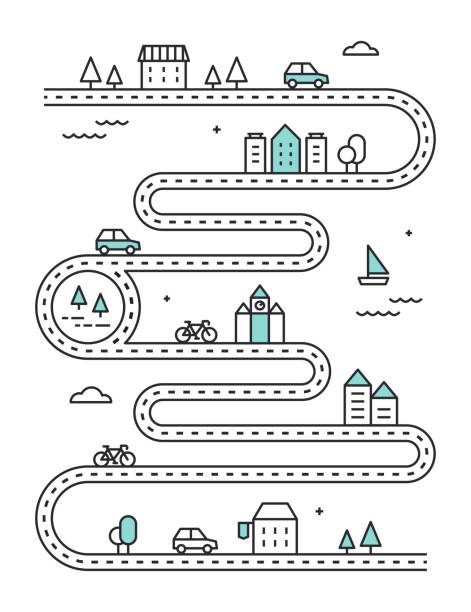 ilustrações de stock, clip art, desenhos animados e ícones de road illudtrated map with town buildings and transport. vector infographic design - road
