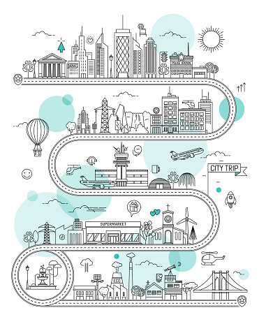 Road Illustrated Map with Town Buildings and Transports. Vector Infographic Design