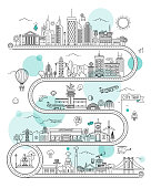 istock Road Illustrated Map with Town Buildings and Transports. Vector Infographic Design 1210139567