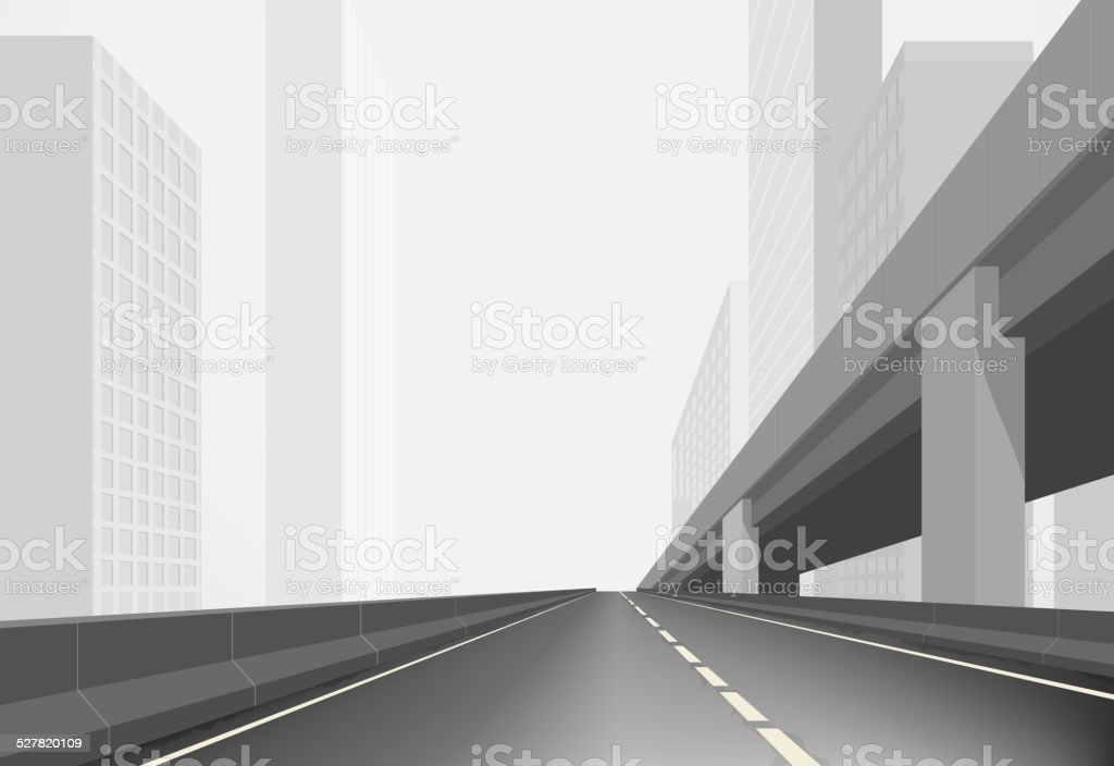 Road in a town vector art illustration