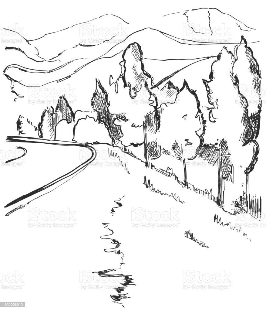 Vetores De Estrada Na Zona Rural Desenho De Paisagem Desenhada De