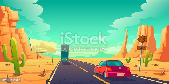 istock Road in desert with cars ride long asphalt highway 1211922847