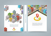 Road in the city Isometric banner, City location black book, A4 size, Vector background