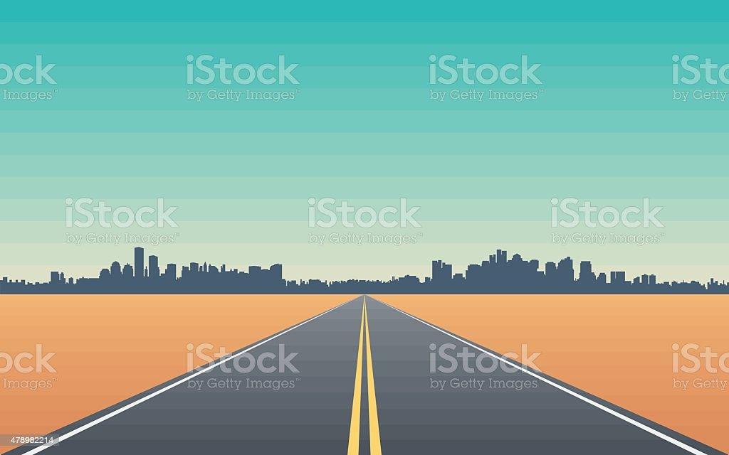 Road in The Desert vector art illustration