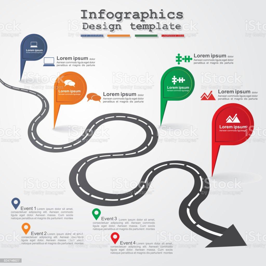 Road infographic layout. Vector illustration. vector art illustration