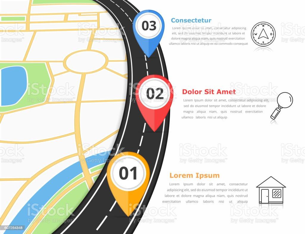 Road infografías - ilustración de arte vectorial