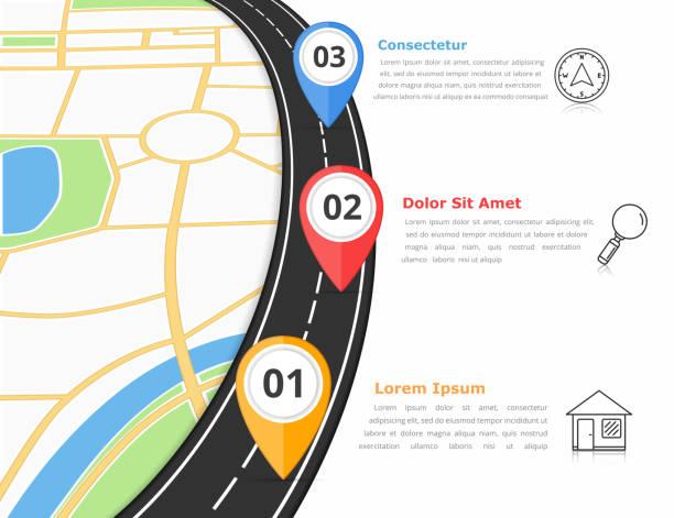 ilustraciones, imágenes clip art, dibujos animados e iconos de stock de road infografías - señalización vial