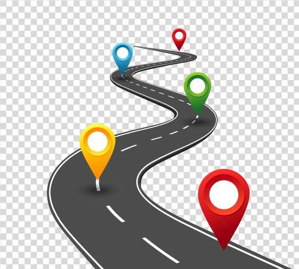 ilustraciones, imágenes clip art, dibujos animados e iconos de stock de infografía del camino. camino hacia el éxito con punteros de pin de la bobina. viaje de negocios forma. concepto de progreso - vía