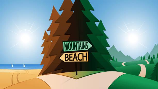 Carrefour et plage ou montagne fléchage - Illustration vectorielle