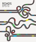 Spaghetti junction road traffic with convoluted intertwined roads and colorful cars. Road junction set on the white background.