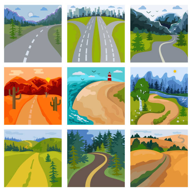 Road landscape vector roadway in forest and cityscape highway or roadside way to field lands with grass and trees in countryside illustration set of traveling in country or seaside Road landscape vector roadway in forest and cityscape highway or roadside way to field lands with grass and trees in countryside illustration set of traveling in country or seaside. driveway stock illustrations