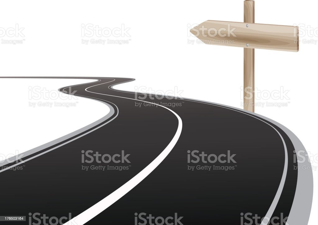 Road leading to the  farway royalty-free stock vector art