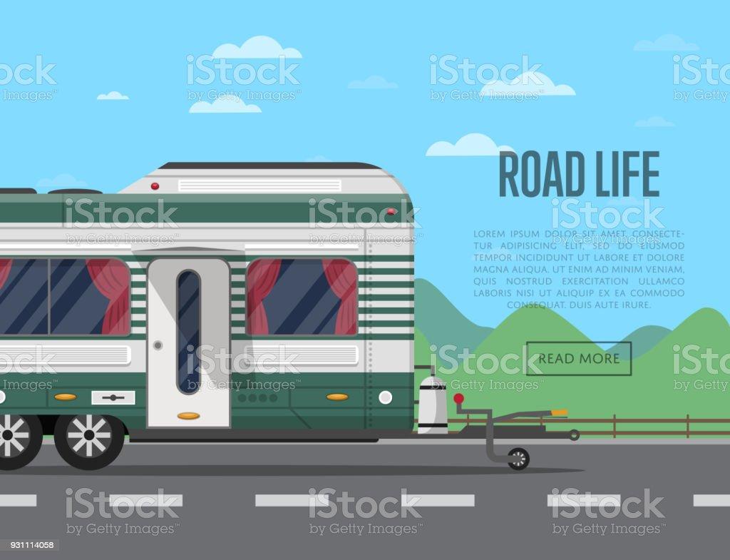 Yol hayat poster kamp karavan ile - Royalty-free Araba - Motorlu Taşıt Vector Art
