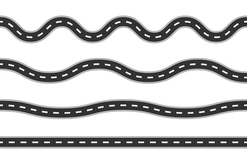 Road lines collection. Set of different track lines. Vector illustration.