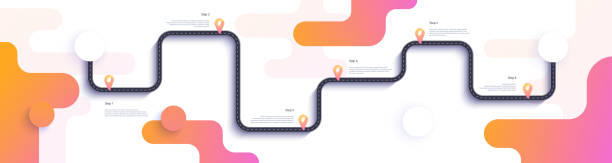 ilustrações, clipart, desenhos animados e ícones de mapa de estrada e viagem modelo de infográficos de rota. ilustração de cronograma de estrada sinuosa. - ilustrações de destinos de viagens