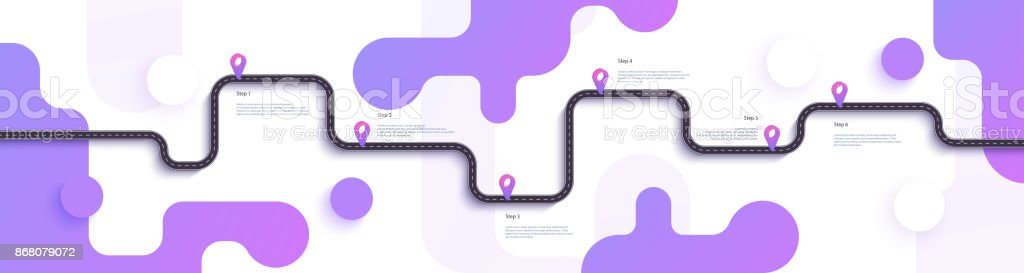 Road map and journey route infographics template. Winding road timeline illustration. vector art illustration