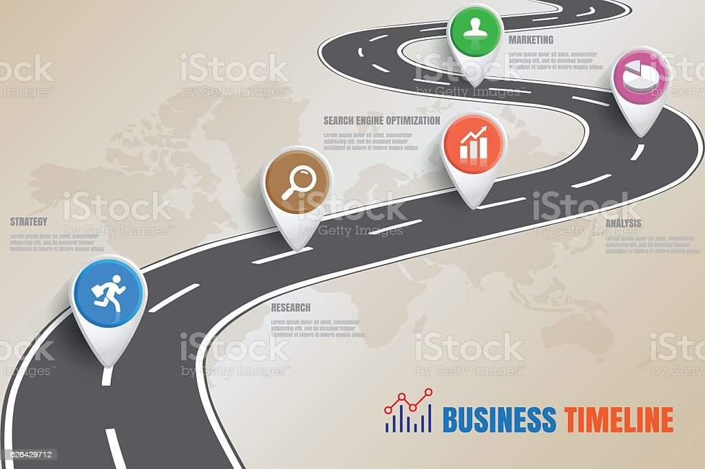 Road map Business Timeline, Vector Illustration vector art illustration