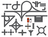 Road Map Design Element Set. Top view vector elements.Part of road highway, road junctions,road for traffic