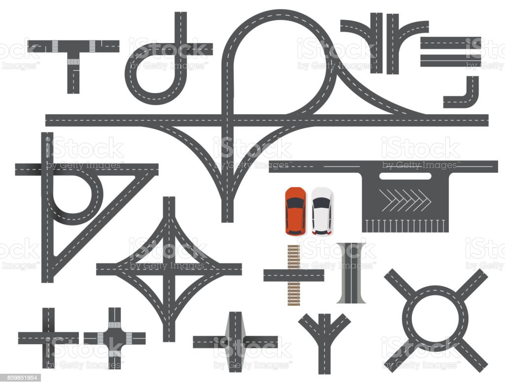 Road Map Design Element Set. Top view vector elements.Part of road highway, road junctions,road for traffic vector art illustration