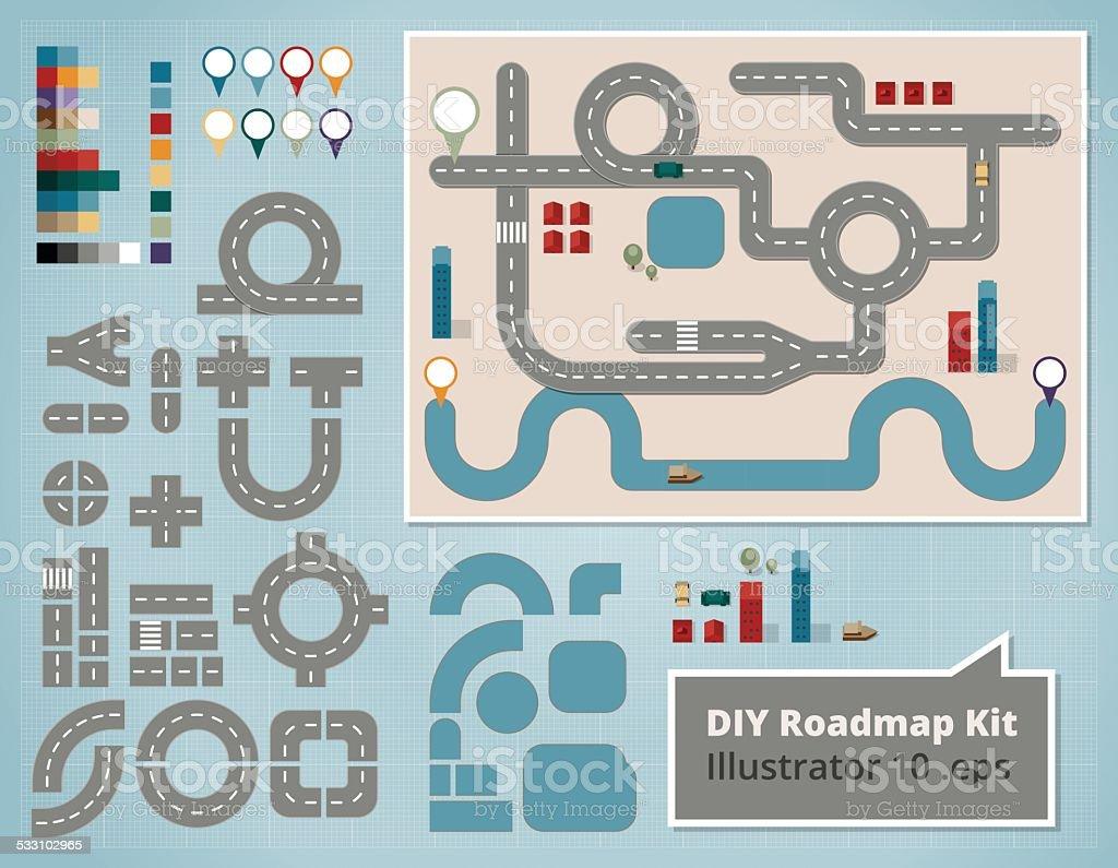 Straßenkarte Design-Elemente und Illustrationen – Vektorgrafik