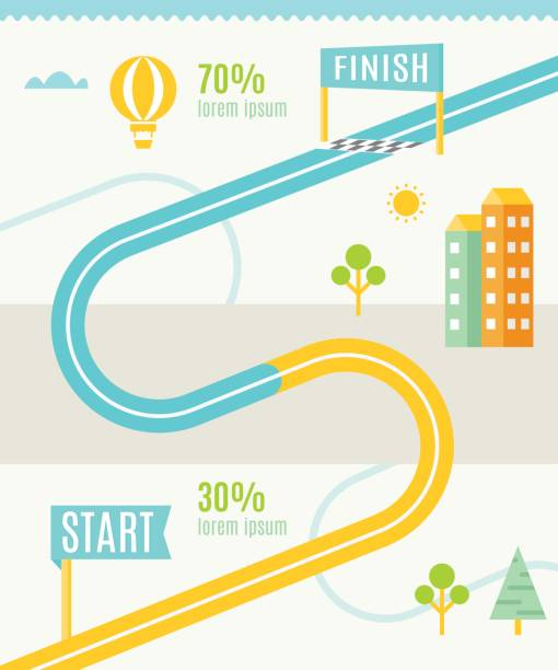 Road Map Infographics Template Road or Track Map Infographics Vector Template finishing stock illustrations