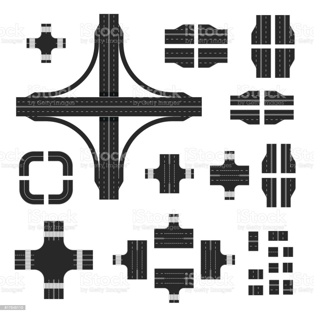Road map kit. Construction road elements with different markings vector art illustration