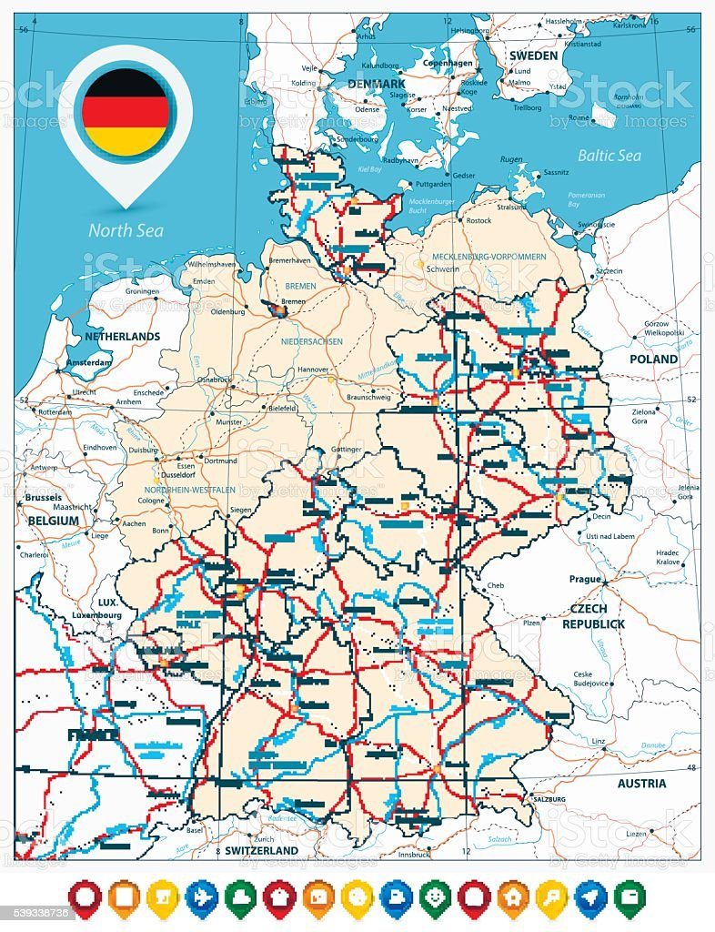 Road Map Of Germany And Colored Map Pointers Stock ...