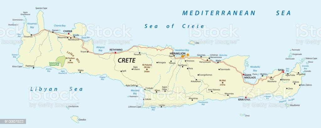 Road Map Of Greek Mediterranean Island Crete Stock Vector Art More