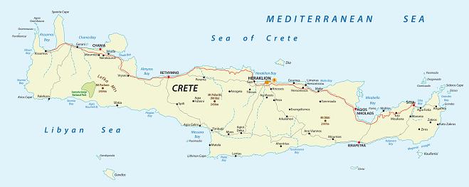 road map of greek mediterranean island crete