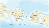 Road map of Indonesian Lesser Sunda Islands Bali and Lombok