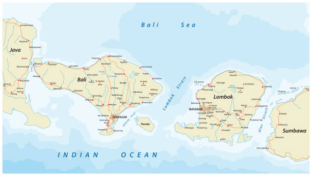 road map of indonesian lesser sunda islands bali and lombok - ломбок stock illustrations