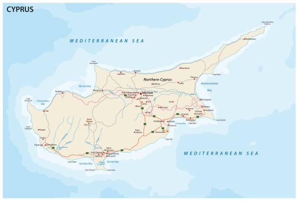 straßenkarte der mediterranen insel zypern - paphos stock-grafiken, -clipart, -cartoons und -symbole