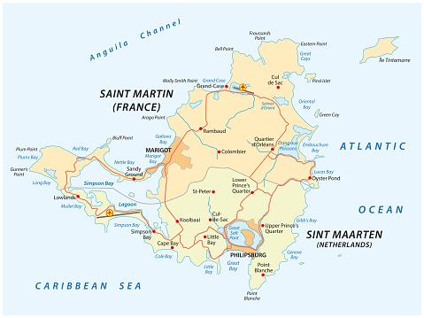 road map of Sint Marteen-Sint Maarten
