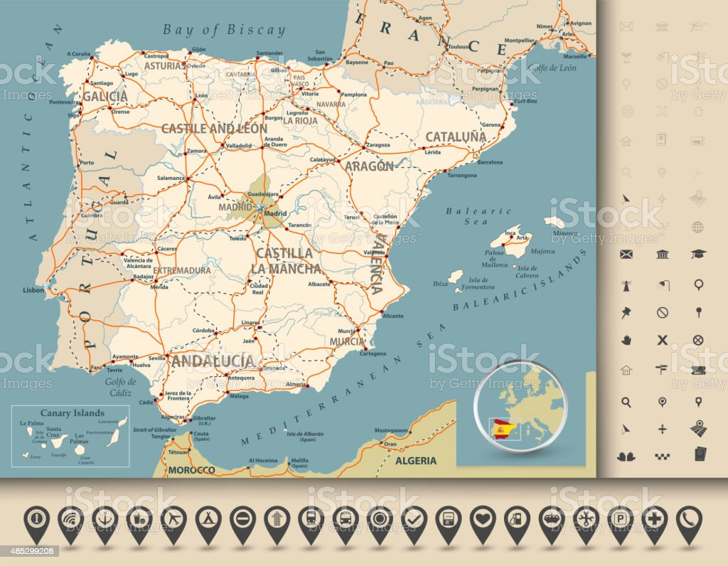 Detailed Road Map Of Spain.Road Map Of Spain Stock Illustration Download Image Now