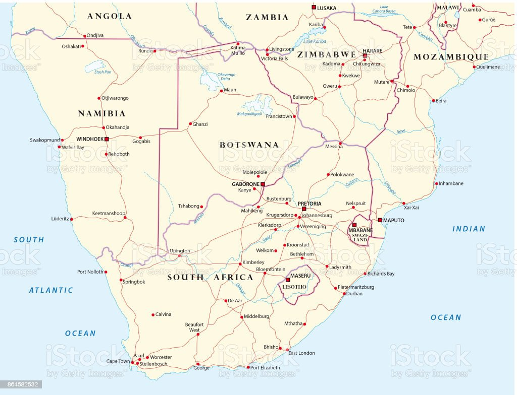 Road Map Of States Of Southern Africa Stock Vector Art & More Images ...