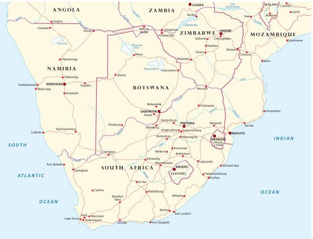 bildbanksillustrationer, clip art samt tecknat material och ikoner med färdplan för staterna i södra afrika - south africa