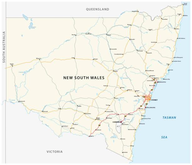 호주 뉴 사우스 웨일즈 지도의로 지도 - 태즈먼 해 stock illustrations