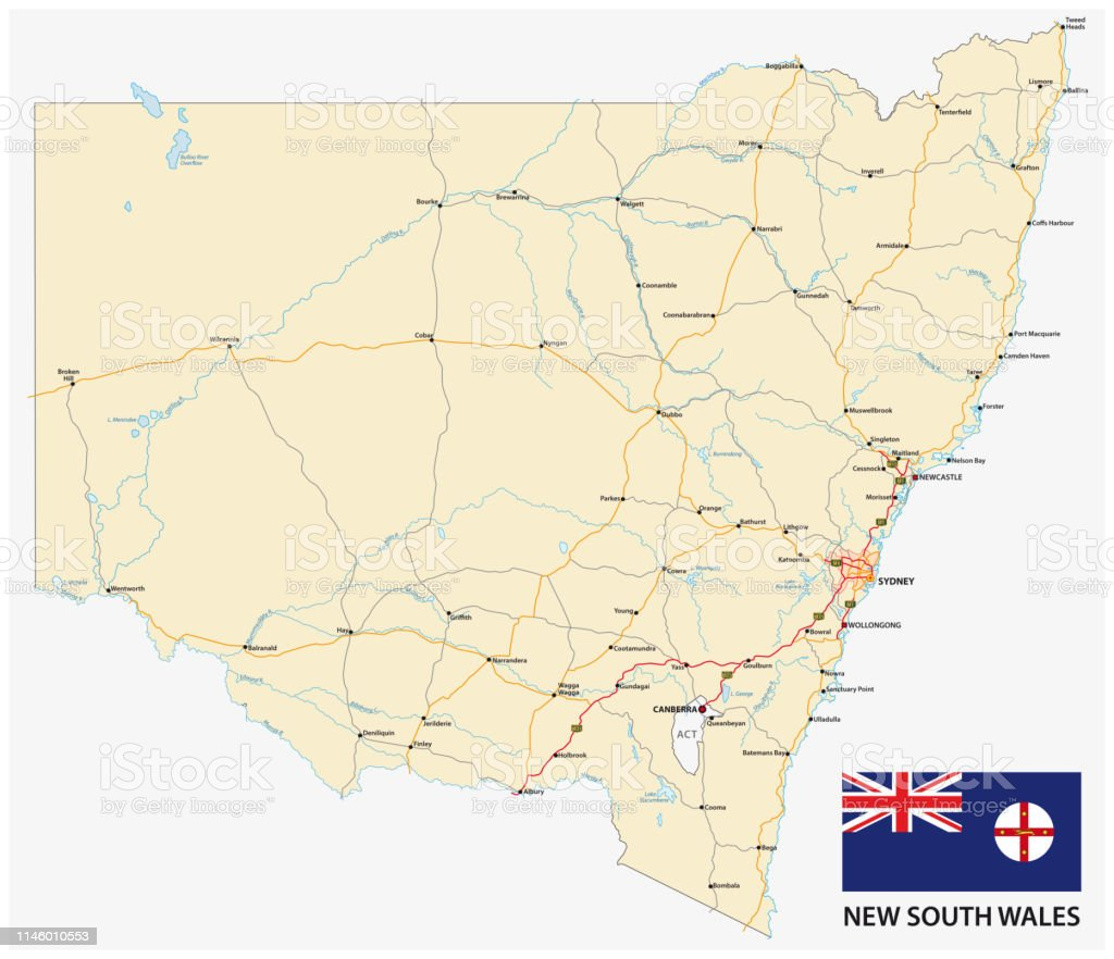 Map Of Australia New South Wales.Road Map Of The Australian State New South Wales Map With Flag Stock