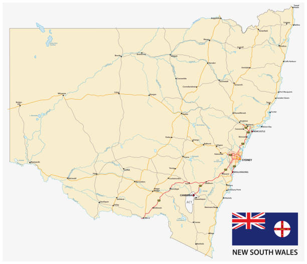 Road map of the Australian state New South Wales map with flag Road map of the Australian state New South Wales map with flag land feature stock illustrations