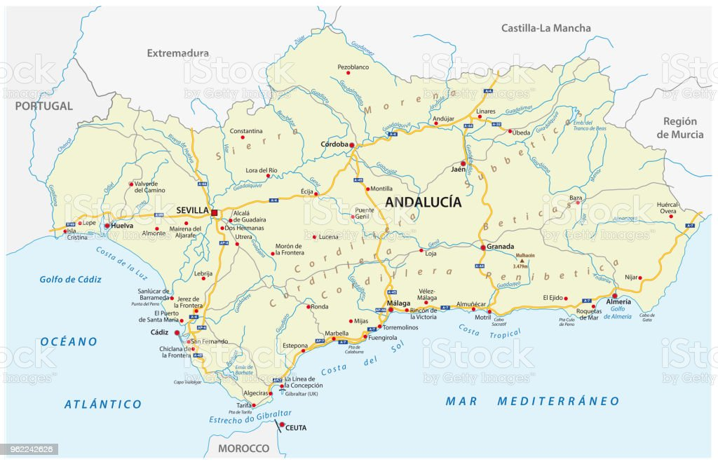 Map 24 Spain.Road Map Of The Autonomous Community Of Andalusia Spain Stock