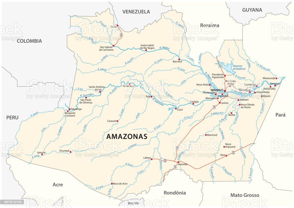 Carte Routiere Nord Bresil.Carte Routiere De Letat Bresilien Amazonas Vecteurs Libres De Droits