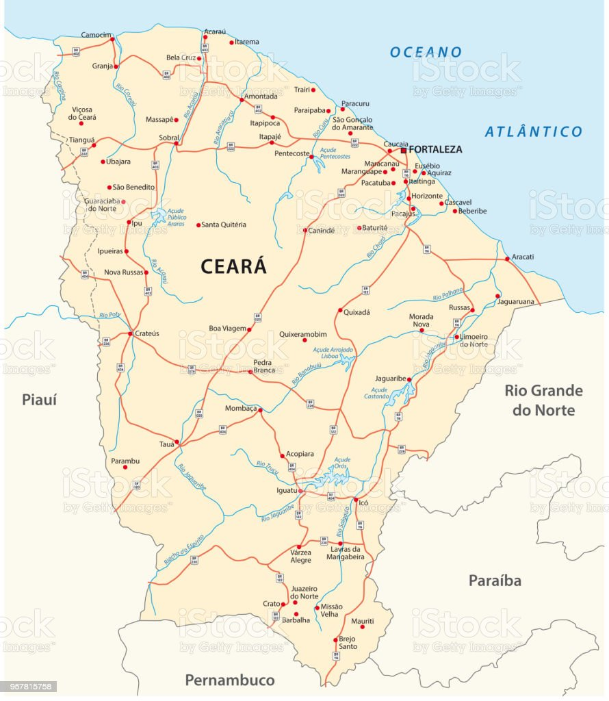 road map of the brazilian state ceara vector art illustration