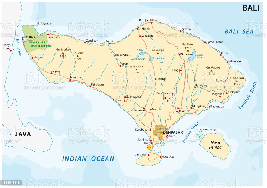 Road Map Of The Indonesian Island Of Bali Stock Illustration